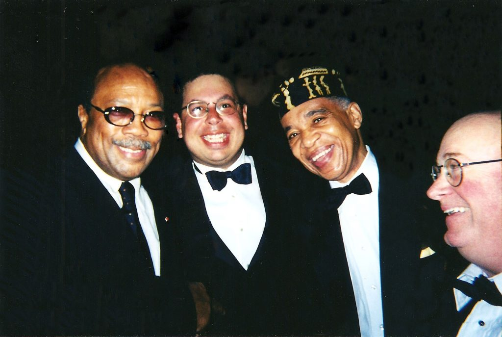 Isaac with Quincy Jones, Benny Powell and Bob Millikan